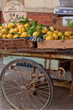 A wagon of lemons for sale on the C'ote d'Azur ᘡղbᘠ