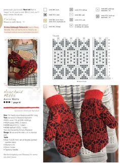 from Knitscene Accessories - 2014 Knitted Mittens Pattern, Knit Mittens, Mitten Gloves, Wrist Warmers, Hand Warmers, Fair Isle Knitting, Knitting Charts, Knitting Projects, Knit Crochet