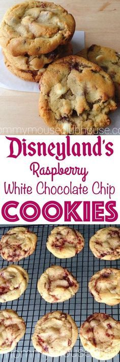 The best, chewy raspberry white chocolate chip cookies recipe from scratch. Copycat of the cookies from Disneyland.