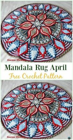 Crochet Mandala Rug April Free Pattern - Area Ideas Free Patterns by Michele L Collura 10 DIY Crochet Area Rug Ideas with Free Patterns: for dinning room, living room, bedroom or even as kitchen mat, a great addition to interior decor, Motif Mandala Crochet, Mandala Rug, Crochet Rug Patterns, Crochet Motifs, Crochet Squares, Knitting Patterns, Afghan Patterns, Mandala Blanket, Doilies Crochet