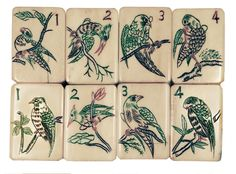 Mah Jong Bird Flower tiles. (Not 1 Bams)