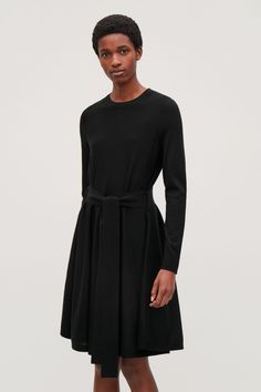 Model side image of Cos in black Knit Dress, Stylish Outfits, Merino Wool, Knitwear, Women Wear, High Neck Dress, Dresses For Work, Cos, My Style