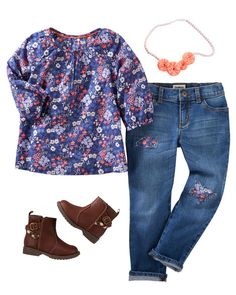 Pretty florals and matching patches make a perfect pair for school. Add ankle boots and a necklace to complete her look!