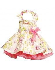 Bonnie Jean Pink Floral Ruffle Halter Easter Dress $30.99