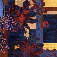 Red Dahlias/Blue Ground