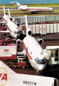 TWA Boeing 727-100 fest at LaGuardia Airport, 1969