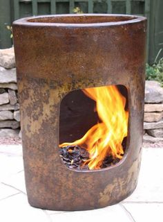 Art clay chimenea for use as both a garden sculpture and a chimenea in one! Not only can you keep warm with this clay patio heater but it looks great too!We recommend having a few smaller fires when new to allow your chimenea to expand slowly. Cover when not in use to protect your chimenea. As with all clay chimeneas this may need repainting and glazing over time.
