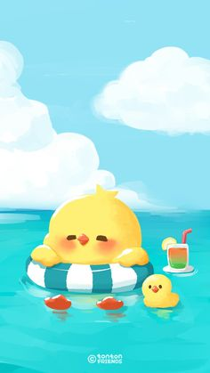 Ideas for wallpaper iphone beach wallpapers Duck Wallpaper, Beach Wallpaper, Kawaii Wallpaper, Iphone Wallpaper, Chicken Wallpaper, Galaxy Wallpaper, Cute Kawaii Drawings, Cute Animal Drawings, Chibi
