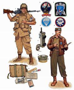 Вооружение и экипировка военнослужащих 517-го и 551-го парашютных пехотных полков армии США на юге Франции (сентябрь 1944 года)
