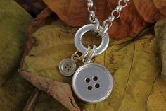 First leaves of Fall - Cherished Moment for Me! Sterling Silver and 9ct Yellow Gold Two Button by CherishButton, $625.00