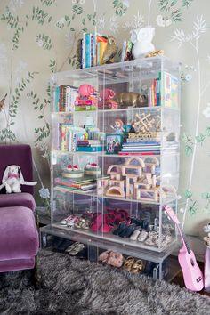 Modern Glam Nursery Lucite Metallic Childrens Room Lucite Bookshelf