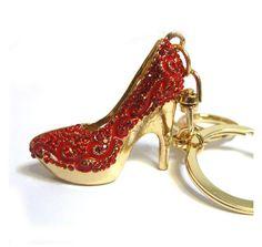 Red Stiletto Heel Rhinestone Purse Charm, Red Crystal Bling Keychain, Women's Shoe Handbag Charm, Fashion Accessory,Bling Car Accessory