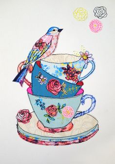 Tea cup Stack & Bird stitched mixed media by AmandaWoodDesigns; I love everything about this, just gorgeous Freehand Machine Embroidery, Free Motion Embroidery, Free Machine Embroidery, Embroidery Designs, Applique Designs, Embroidery Applique, Fabric Cards, Fabric Postcards, Sewing Machine Drawing
