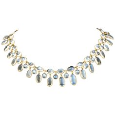 Moonstone Fringe Necklet. Oval Cabochon cut moonstone fringe necklet set in 15ct Gold. c 1910
