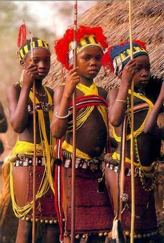 Africa | Bassari girls dressed for an initiation festival.  Senegal ||  Scanned postcard.