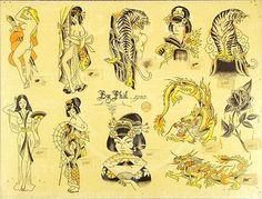 Traditional Tattoo Girls, Traditional Tattoo Flash Art, Traditional Flash, Vintage Flash, Vintage Art, Vintage Names, Vintage Tattoo Design, Vintage Tattoos, Tattoo Museum