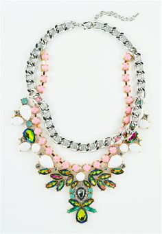 Mixed Stone Bib Necklace - collar necklace with multi colored crystals by Shamelessly Sparkly $32.90
