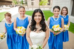 Yellow and Blue Wedding Bouquets #Minneapolis