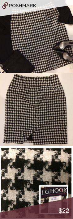 """Vintage J.G. Hook Houndstooth Skirt Vintage late 80's 100% Acetate houndstooth skirt perfect for the office with style 😉 Small slit in back with a zipper in back for closure...there is a spot where lining is torn a little on inside at base of zipper (see pic 4) Size 12 it runs small with a waist measuring 15"""" across laying flat and hips measuring between 20.5-21"""" with a length of about 23.25"""" bundle to save more plus ⚡️📦📫😁💕 Made in the 🇺🇸🇺🇸🇺🇸 J. G. Hook Skirts"""