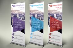 Business Roll-up Banner - Premium Templates **PREMIUM**Business - Roll-Up Banners. You can insert your own brands, images, text to banner. Fi by NEXDesign Pull Up Banner Design, Pop Up Banner, Banners Web, Vinyl Banners, Roller Banners, Web Banner, Letterhead Template, Brochure Template, Brochure Design