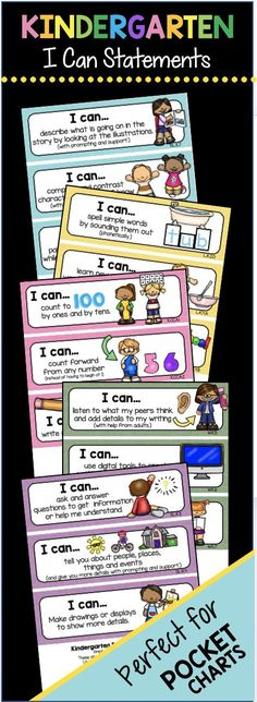 Adorable I Can Statements for Kindergarten - Common Core Standards - Math & ELA Objectives - Perfect for Pocket Charts and Centers - FREEBIES - Checklists Kindergarten Goals, Kindergarten Anchor Charts, Kindergarten Projects, Kindergarten Center Management, Kindergarten Common Core, Beginning Kindergarten, Kindergarten Checklist, Kindergarten Report Cards, Whole Brain Teaching
