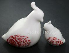 red porcelain birds