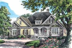 It screams Traditional American. Eplans French Country House Plan - For an Active Family - 1904 Square Feet and 3 Bedrooms from Eplans - House Plan Code French Country House Plans, European House Plans, French Cottage, Cottage Style, Cottage Floor Plans, House Floor Plans, Cabin Plans, Custom Home Builders, Custom Homes