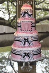 pink and gray chevron baby shower | Four-Tier-Pink-Gray-Chevron-Baby-Diaper-Cake-For-Baby-Shower-Or ...