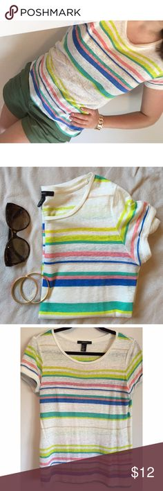 multi color striped top ❤️💙💚💛💜 Lightweight, semi sheet shirtsleeve top. Perfect for your next summer grill out! Forever 21 Tops Tees - Short Sleeve