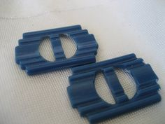 Set of 2 VINTAGE Small Doll Size Blue Plastic BELT by abandc