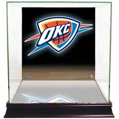 Steiner Sports Glass Basketball Display Case with Oklahoma City Thunder Logo Background, Multicolor