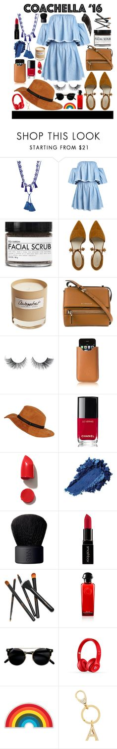 """""""coachella"""" by julietacelina ❤ liked on Polyvore featuring Fig+Yarrow, Olfactive Studio, Givenchy, Acqua di Parma, Chanel, NARS Cosmetics, Smashbox, Beats by Dr. Dre, Anya Hindmarch and Henri Bendel"""