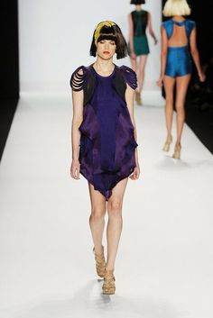 Look # 7 - violet organza in 3 shades with deep eggplant leather harness