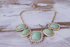 Bold mint, vintage necklace from Classic & Bubbly shop