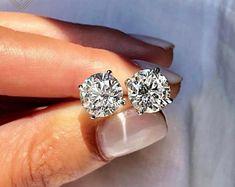 Moissanite   Etsy 14k White Gold Earrings, Valentines Gifts For Him, 18k Gold, Valentino, Jackson, Stud Earrings, Diamond, Etsy, Second Hole Earrings