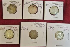 Lot of 6 Canadian Dimes assorted dates 1919-1963 ungraded Read /see pics #coincollection #dimes