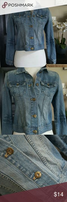 """Mudd  Distressed Jean jacket sz 14 (Girls Large) Lovely Jacket in great condition. Aprox 17.5"""" long  Sleeve length measured at shoulder 22"""" Sleeve length measured at inseam 17"""" Mudd Jackets & Coats Jean Jackets"""