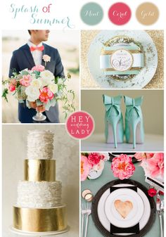 I'm surprised by how much I like this color combo...not a big fan of metallics usually. A Splash of Summer – A Bold, Modern Inspiration Board in Mint, Gold, and Coral
