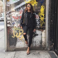 @tenipanosian back at it again with her hot fire Photog skills! Photo cred goes to her  Sunnies @quayaustralia  Jacket @lulus #obey  Jeans @zarausa  Shoes @lolashoetique