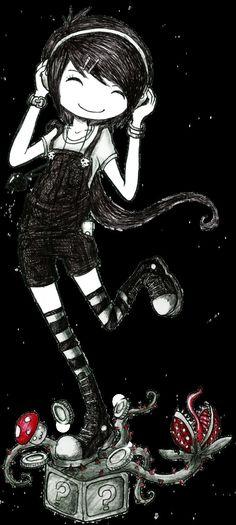 demiseman ♥ Anime Chibi, Manga Anime, Anime Art, Emo Art, Goth Art, Tim Burton, Illustrations, Illustration Art, Arte Emo