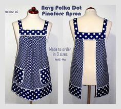 Relaxed Fit Pinafore Apron with no ties, Navy Polka Dot Farmhouse Smock with pockets, comfortable all day apron, made-to-order XS- Plus Size – Handwerk und Basteln Aprons Vintage, Vintage Sewing, Pinafore Apron, Sewing Aprons, Blue Polka Dots, Bleu Marine, Natural Linen, Smocking, Sewing Patterns