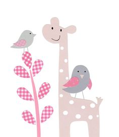 Baby Nursery Decor Baby Girl Kids Wall Art Bird by vtdesigns, $14.00 love giraffes for a nursery too.