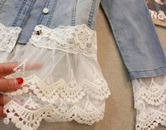 Love this idea to dress up a shirt. Check out thrift stores for old dresses, curtains, etc. that have beautiful lace to add to your clothes