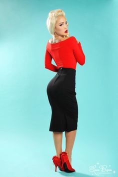 Laura Byrnes Black Label High Waisted Seamed Pencil Skirt in Black Ponte de Roma