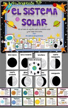 Planets and solar system in spanish: carteles del sistema solar: planetas, sol, fases de la luna. Biligual - spanish dual language classrooms