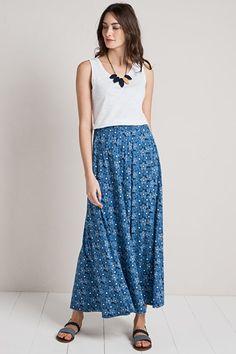 Stratus Cotton Jersey Drapey Maxi Skirt - Seasalt