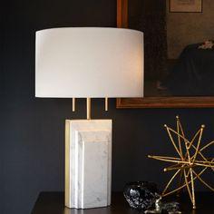 Deco Marble Table Lamp, Antique Brass, White Linen