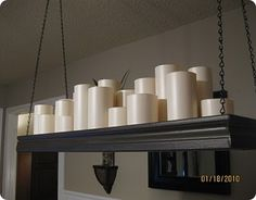 really awesome candle chandelier DIY