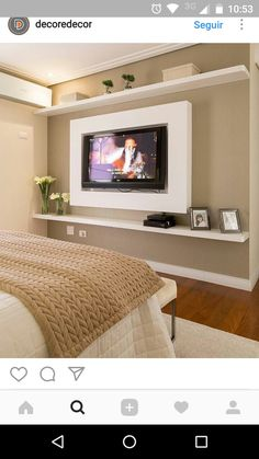 Browse home theater design and living room theater decor inspiration. Discover designs, colors and furniture layouts for your own in-home movie theater. Tv In Bedroom, Master Room, Bed Room, Light Bedroom, Child's Room, Living Room Decor, Bedroom Decor, Design Bedroom, Bedroom Ideas