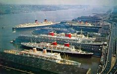 Passenger liners at the Chelsea Piers, Manhattan, New York